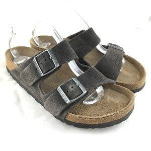 Birkenstock Arizona sandals gray suede 2 strap 40